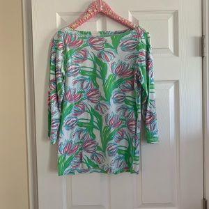 Lilly Pulitzer Tulip print boatneck shirt Size M